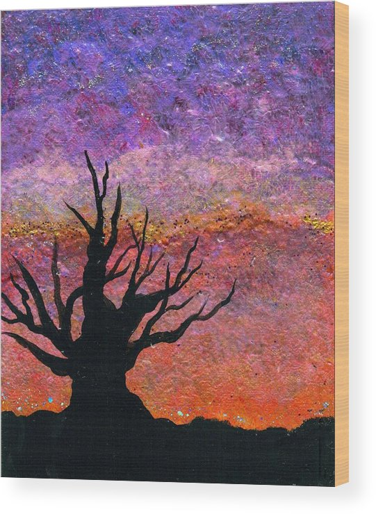 Landscape Wood Print featuring the painting Bristlecone Pine Silhouette by Dina Sierra