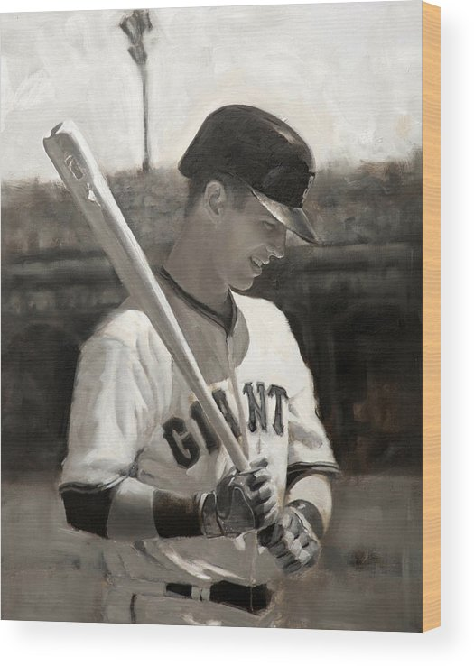 Buster Wood Print featuring the painting Buster Posey - Quiet Leader by Darren Kerr