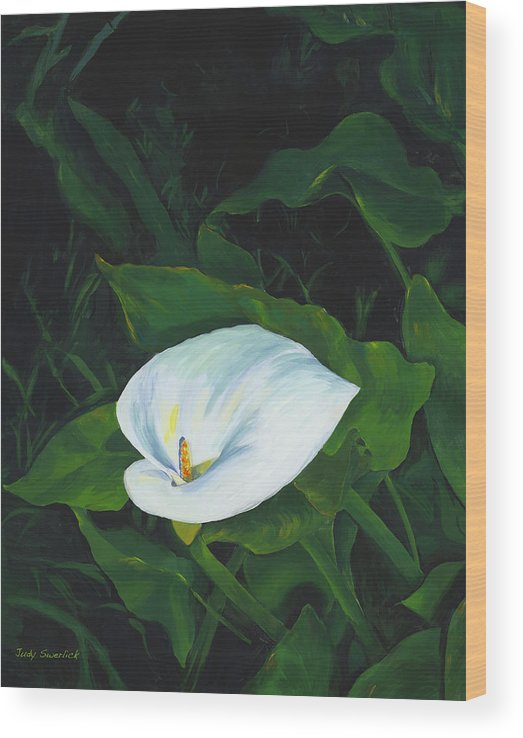 Calla Lily Wood Print featuring the painting Calla Lily in the Garden of Diego and Frida by Judy Swerlick