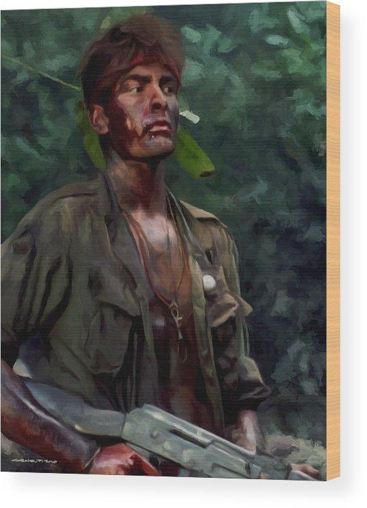 Platoon Wood Print featuring the digital art Charlie Sheen in Platoon by Gabriel T Toro