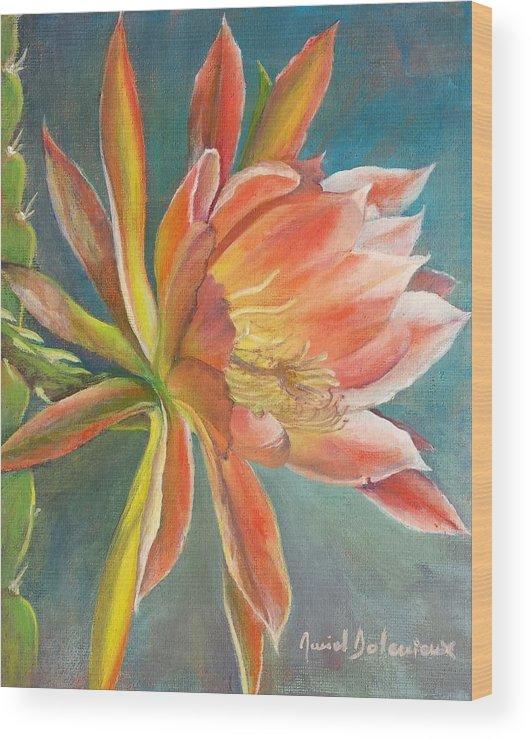 Acrylic Wood Print featuring the painting Cierge en Fleur by Muriel Dolemieux