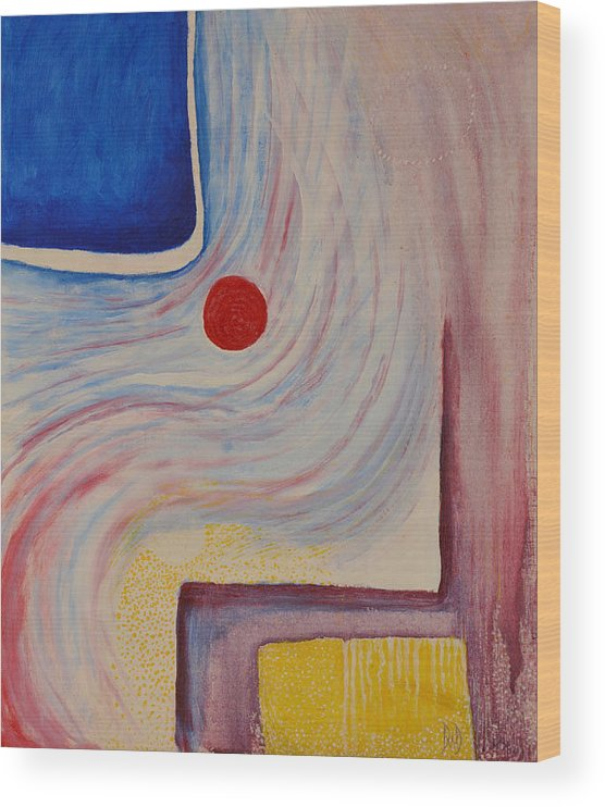 Abstract Wood Print featuring the painting Circle and Corner by David Douthat