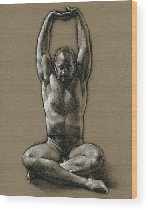 Male Wood Print featuring the drawing Comfort 2 by Chris Lopez