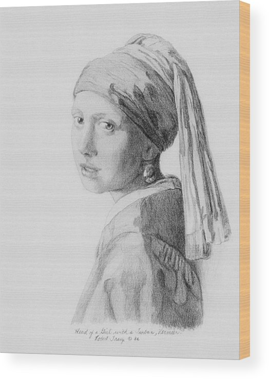 Vermeer Wood Print featuring the drawing Copy after Vermeer Head of a Girl by Robert Tracy