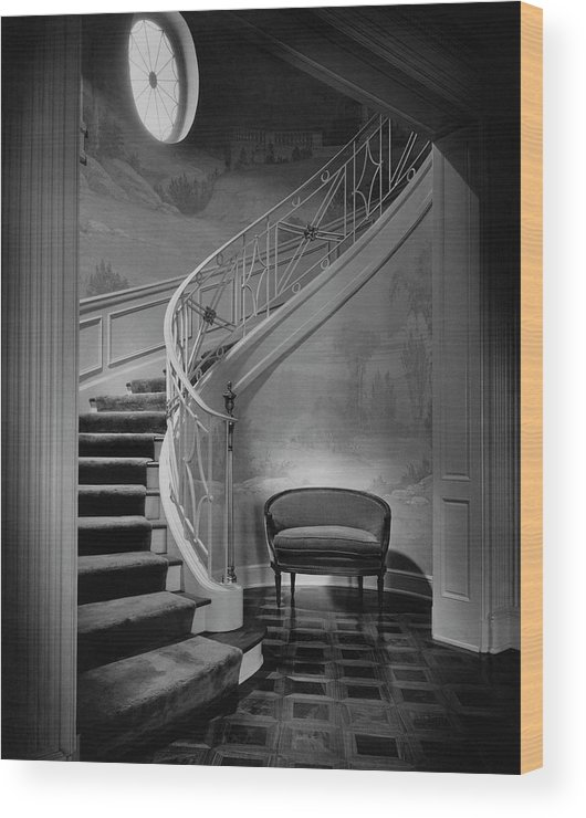 Interior Wood Print featuring the photograph Curving Staircase In The Home Of W. E. Sheppard by Maynard Parker