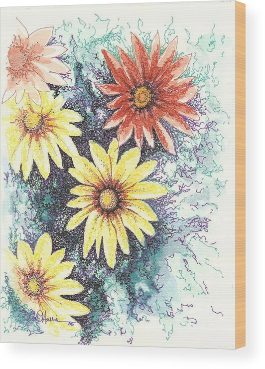 Daisies Wood Print featuring the mixed media Dazzeled by Brian Edward Harris