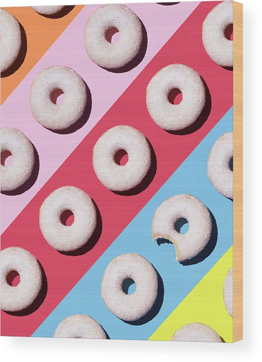 Shadow Wood Print featuring the digital art Doughnuts On Colourful Background by Westend61
