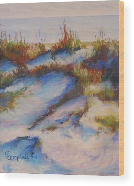 Beach Dunes Wood Print featuring the painting Drifting Dunes by Cecelia Campbell
