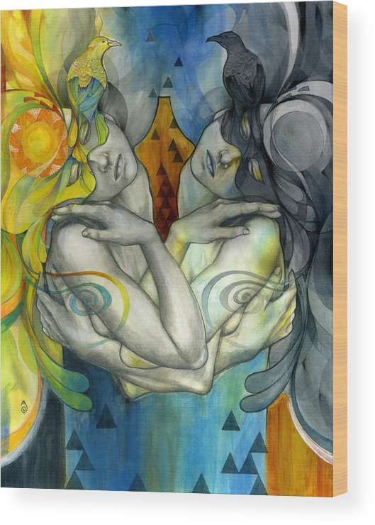 Duality Wood Print featuring the painting Duality by Patricia Ariel