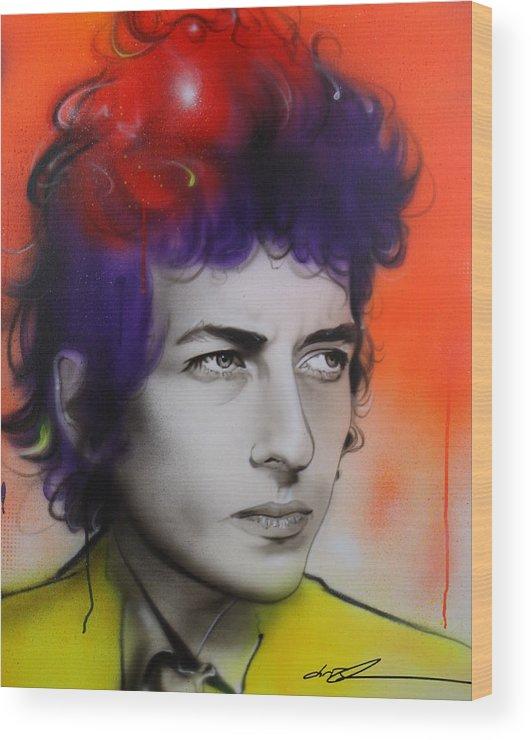 Bob Wood Print featuring the painting Dylan by Christian Chapman Art
