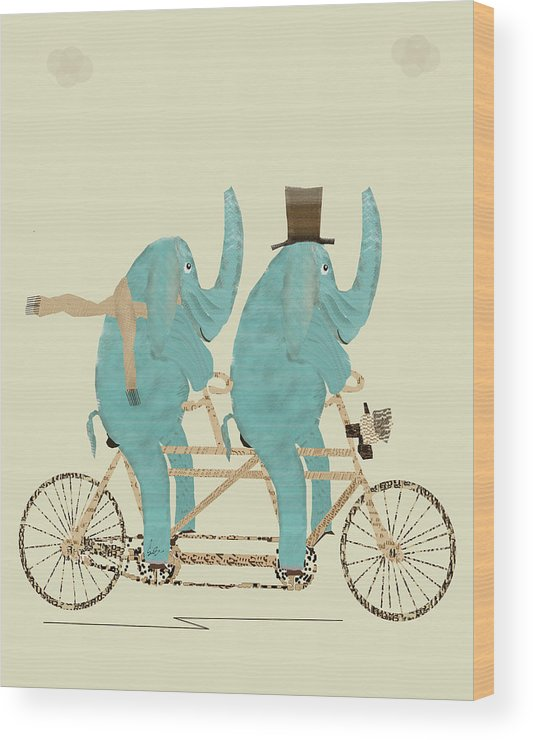 Elephants Wood Print featuring the painting Elephant Days Lets Tandem by Bri Buckley