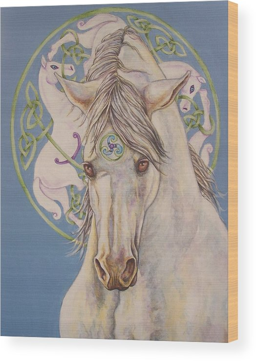 Celtic Wood Print featuring the painting Epona The Great Mare by Beth Clark-McDonal