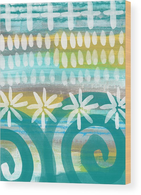 Blue And Yellow Painting Wood Print featuring the painting Flowers and Waves- abstract pattern painting by Linda Woods