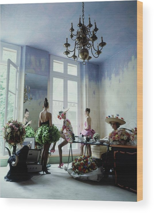Fashion Wood Print featuring the photograph Four Models Inside Christian Lacroix's Studio by Arthur Elgort