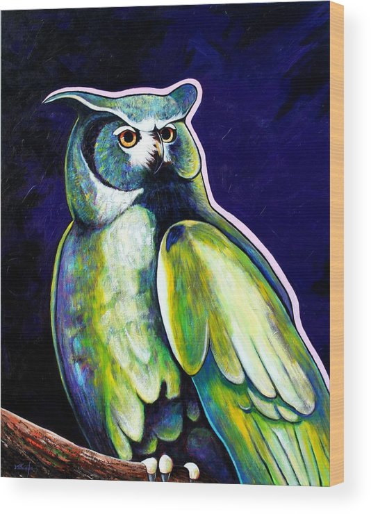 Owl Wood Print featuring the painting From the Shadows by Joe Triano