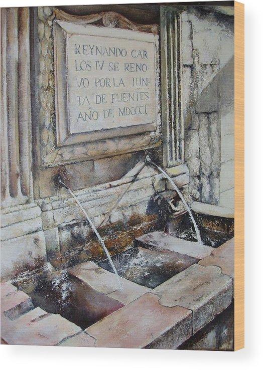 Fuente De San Martin. Leon Wood Print featuring the painting Fuente de San Martin by Tomas Castano
