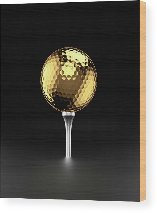 Two Objects Wood Print featuring the photograph Golfball And Alluminium Golf Tee by Atomic Imagery