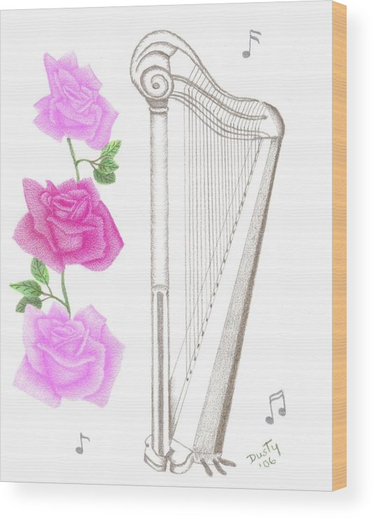 Rose Wood Print featuring the drawing Heavenly Music by Dusty Reed