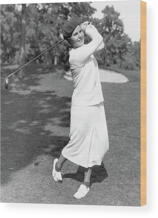 Exterior Wood Print featuring the photograph Helen Hicks Playing Golf by Acme