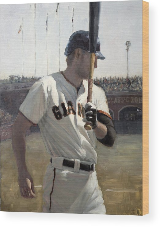 Hunter Pence Wood Print featuring the painting Hunter Pence On Deck by Darren Kerr