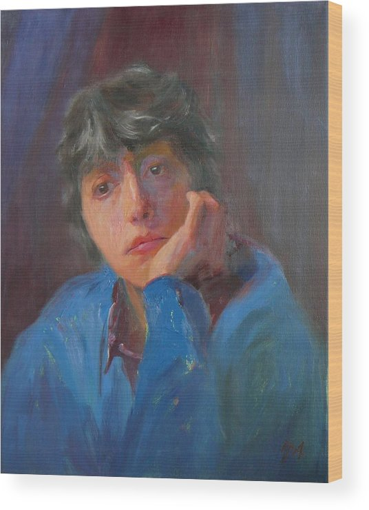 Portrait Wood Print featuring the painting SOLD Irena G II by Irena Jablonski