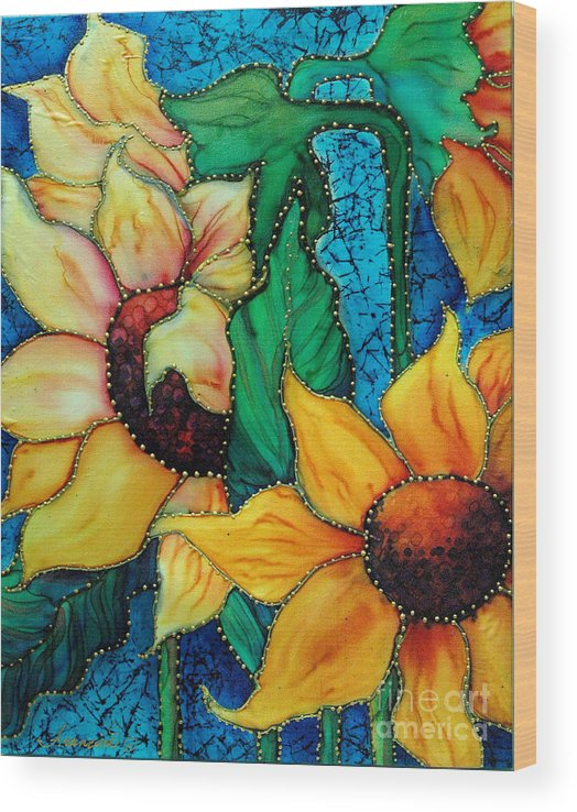 Silk Painting Wood Print featuring the painting Jeweled Sassy Sunflowers by Francine Dufour Jones