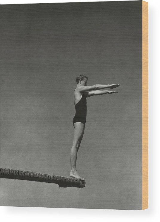 Exterior Wood Print featuring the photograph Katherine Rawls Getting Ready To Dive by Edward Steichen