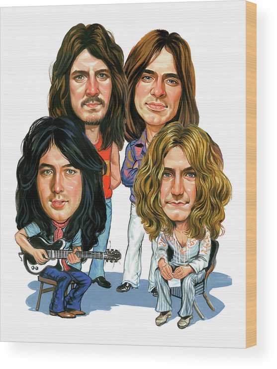 Led Zeppelin Wood Print featuring the painting Led Zeppelin by Art