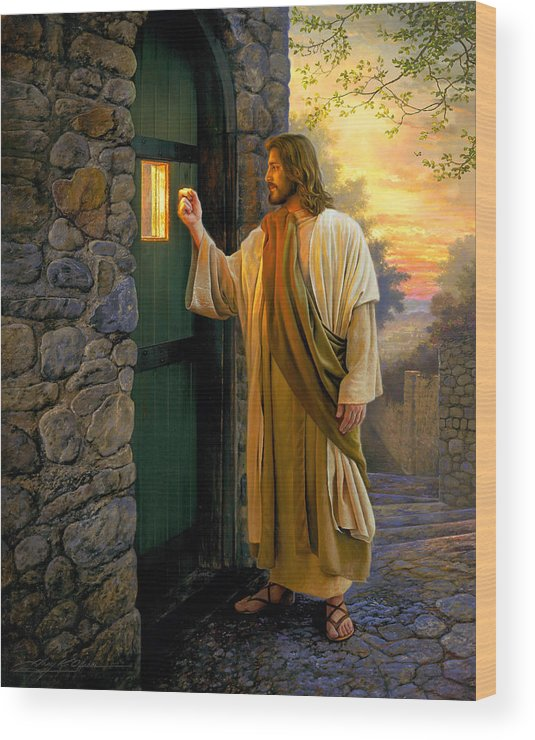 Jesus Wood Print featuring the painting Let Him In by Greg Olsen