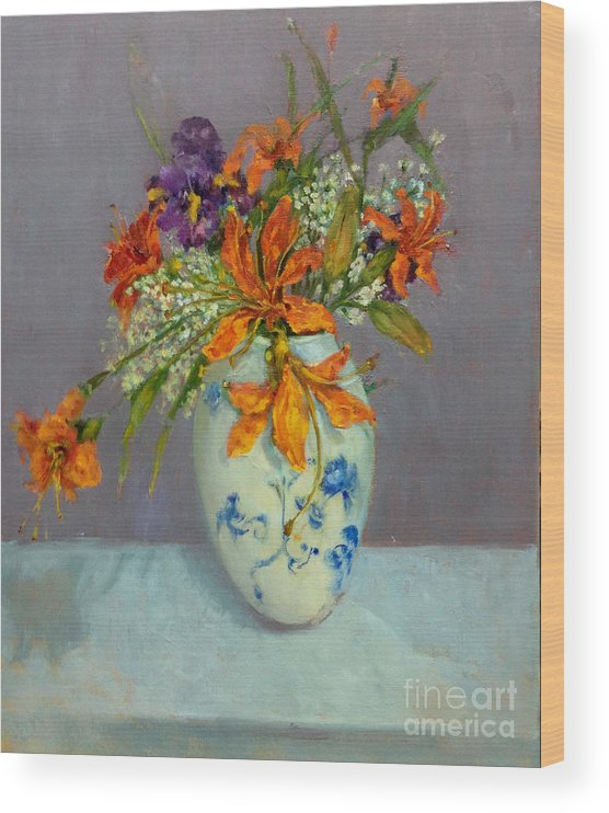 Orange Lilies Wood Print featuring the painting Lilies in Delft by Kathleen Hoekstra