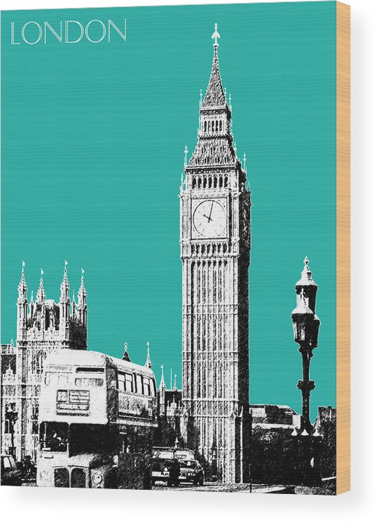 Architecture Wood Print featuring the digital art London Skyline Big Ben - Teal by DB Artist
