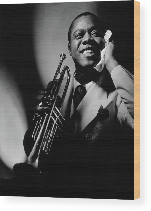 Portrait Wood Print featuring the photograph Louis Armstrong Holding A Trumpet by Anton Bruehl