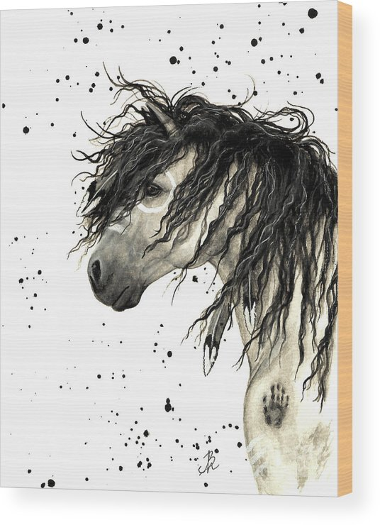 Mustang Horse Art Wood Print featuring the painting Majestic Grey Spirit Horse #44 by AmyLyn Bihrle