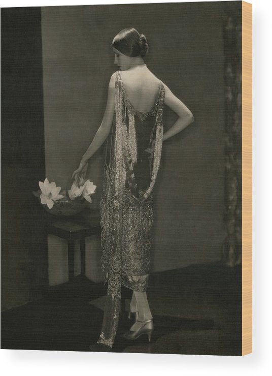Designer Wood Print featuring the photograph Marion Morehouse Wearing A Chanel Dress by Edward Steichen