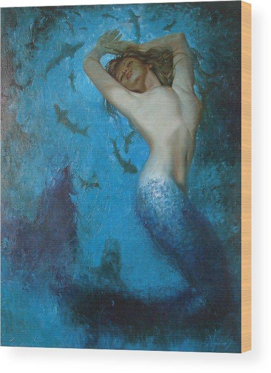 Ignatenko Wood Print featuring the painting Mermaid by Sergey Ignatenko