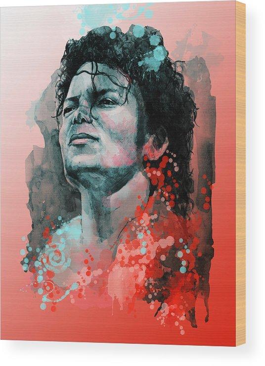 Michael Jackson Wood Print featuring the painting Michael Jackson 13 by Bekim M