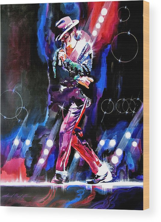 Michael Jackson Wood Print featuring the painting Michael Jackson Moves by David Lloyd Glover