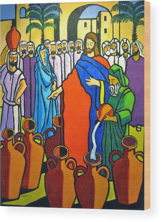 Religious Wood Print featuring the painting Miracle at Cana by Nicholas Martori