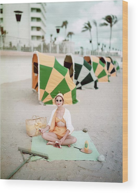 Fashion Wood Print featuring the photograph Model Wearing Cabana Swimwear On A Beach by Richard Rutledge