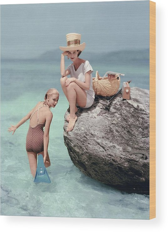 Fashion Wood Print featuring the photograph Models At A Beach by Richard Rutledge