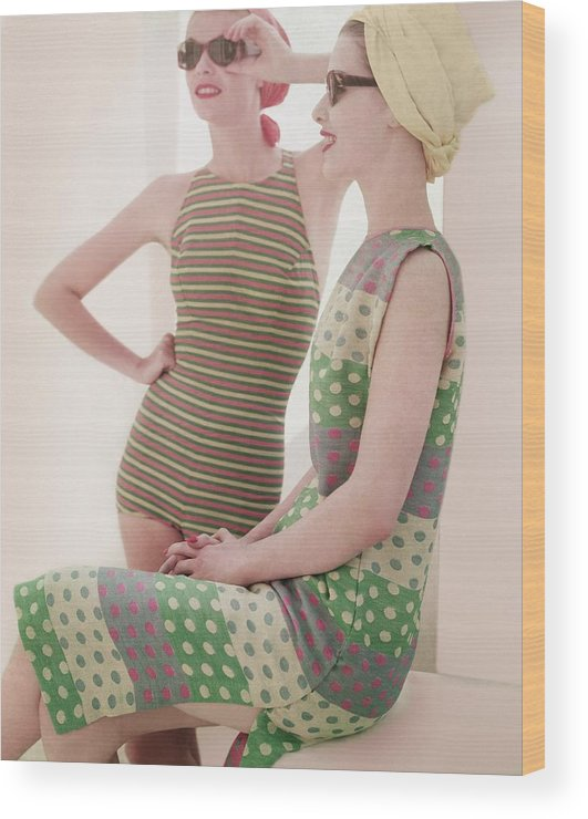 Studio Shot Wood Print featuring the photograph Models Wearing Swimwear And Dress by Horst P. Horst