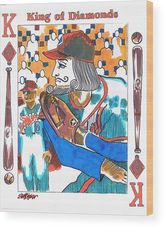 Modern King Of Diamonds Wood Print featuring the drawing Modern King O' Diamonds by Seth Weaver
