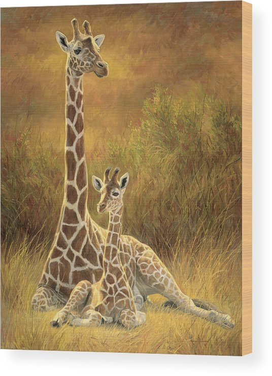Giraffe Wood Print featuring the painting Mother and Son by Lucie Bilodeau