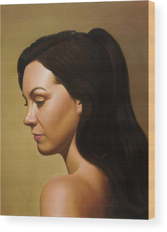 Figurative Wood Print featuring the painting Muse by Gary Hernandez