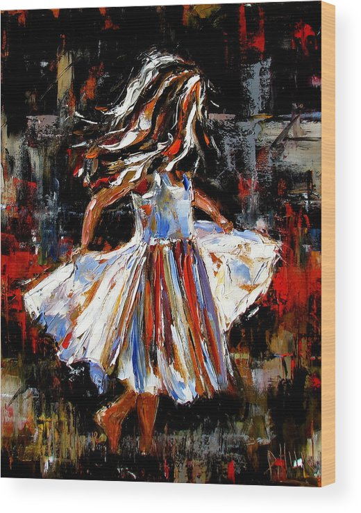 Child Wood Print featuring the painting My Dress by Debra Hurd