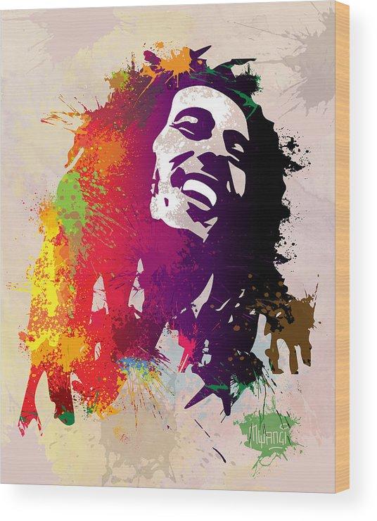 Reggae Wood Print featuring the painting Nesta Robert by Anthony Mwangi