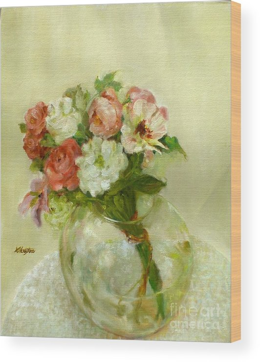 Roses Wood Print featuring the painting Old Fashioned Bouquet      copyrighted by Kathleen Hoekstra