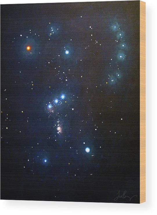 Constellation Wood Print featuring the painting Orion the Hunter by Timothy Benz