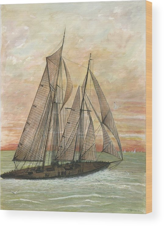Sailboat; Ocean; Sunset Wood Print featuring the painting Out To Sea by Ben Kiger