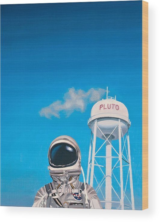 Astronaut Wood Print featuring the painting Pluto by Scott Listfield